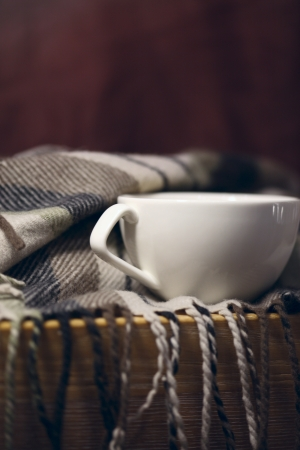 cup of coffee, warm scarf Stock Photo