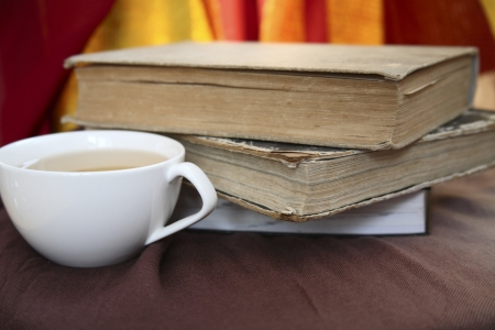 cup of tea and old books Stock Photo