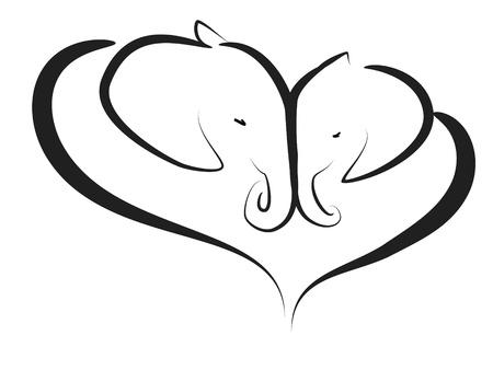 siluetas de elefantes: ternura