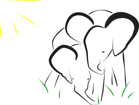 elephants, image Vector