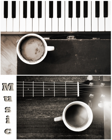 Music, collage cup of coffee and music instruments Stock Photo