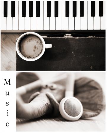 이미지, 상상력, 커피, 음악 Monohrome 세트