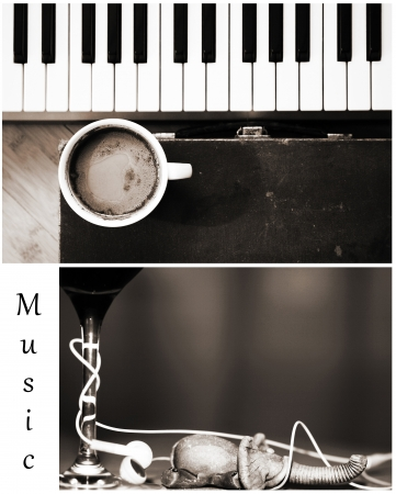 Monohrome set of images, imagination, coffee, music photo