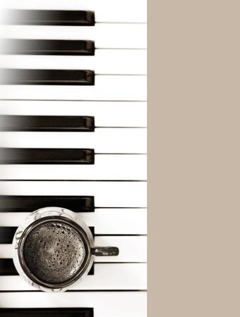 흑백 이미지, 커피, 음악 스톡 사진