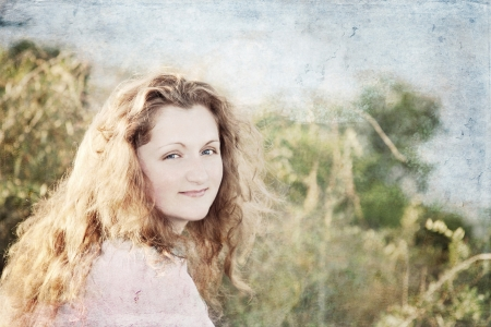 portrait of a beautiful girl, processed usind grunge texture