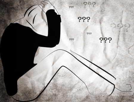 interrogatory: illustration of a sad girl