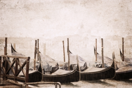 Venice, artwork in painting style, rain