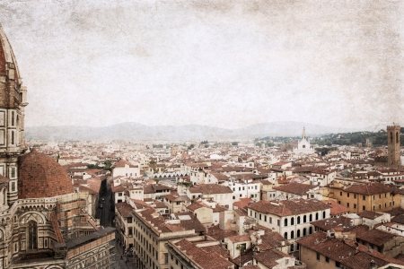 Florence, Italy,  image in old color style photo
