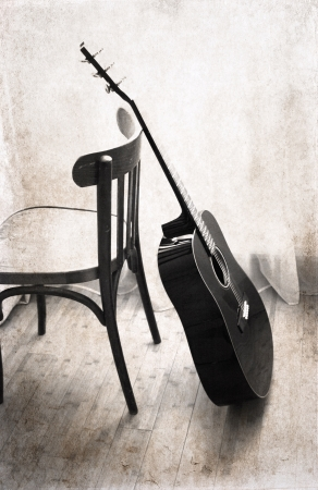 image in grunge style, guitar 스톡 사진