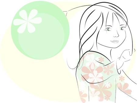 fib: ilustraci�n vectorial, ni�a, jugando