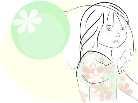 fib: vector illustration, little girl, playing Illustration