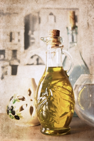 artwork in retro style,  olive oil