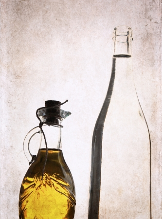 artwork in grunge style,  olive oil and bottle of white wine