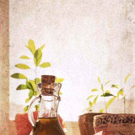 artwork in grunge style,  olive oil