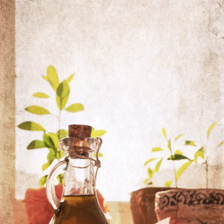 artwork in grunge style,  olive oil