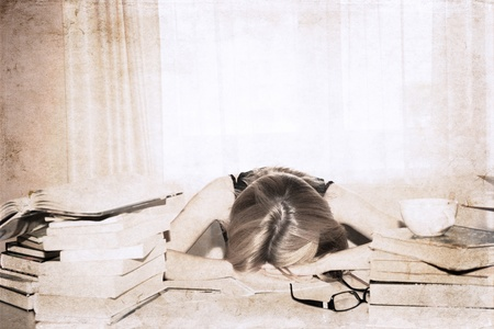 artwork  in retro style,  girl in the library, sleeping Stock Photo