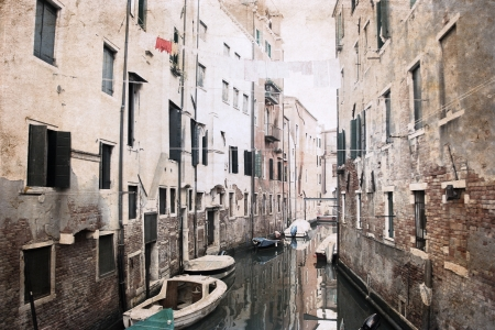 artwork  in grunge style,  Venice, Italy
