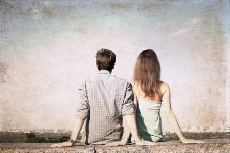 artwork  in grunge style,  girl and boy