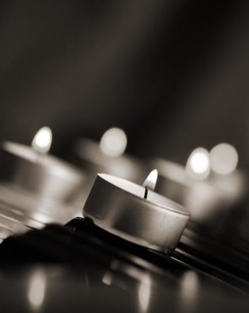 monochrome image, brning candles photo