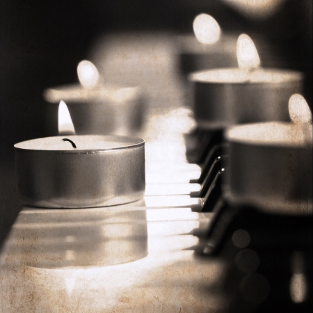 artwork  in grunge style,  candles photo
