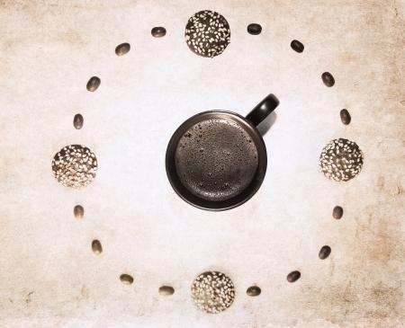 artwork  in grunge style,  clock Фото со стока