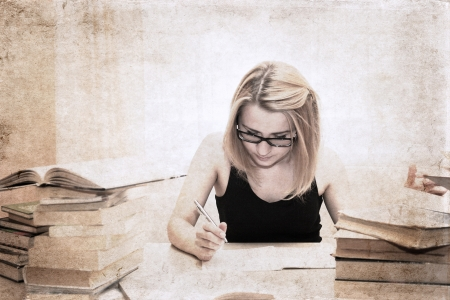 artwork  in retro style,  girl in the library, writing something in the textbook