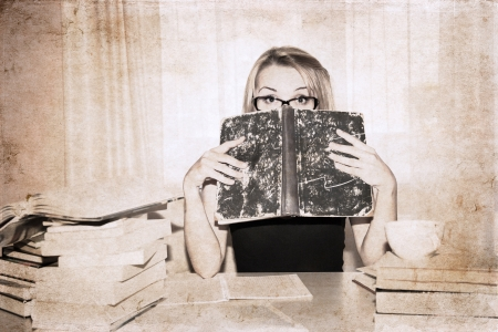 artwork  in retro style,  girl, preparation for exams photo