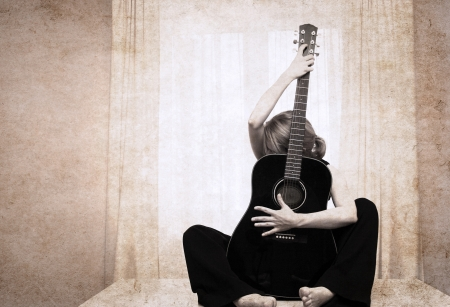 artwork  in grunge style,  woman and guitar Archivio Fotografico