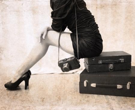 빈티지 스타일의 아트 워크, 카메라 건전지와 아름 다운 여자