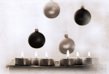 artwork  in retro style,  burning candles and New Year s decoration photo
