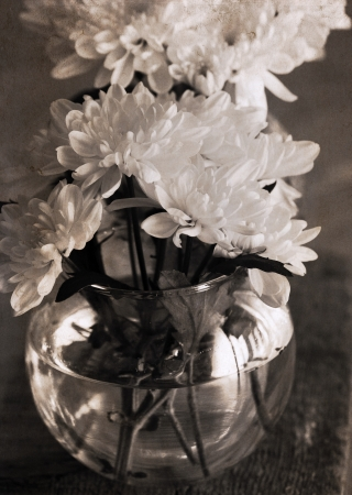 artwork  in retro style,  chrysanthemum in the vase photo