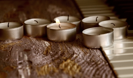 Toned in warm colors image, candles Stock Photo