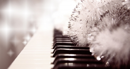 Toned in warm colors image, pianoforte, New Years decoration