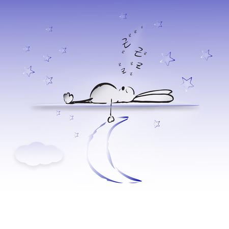 Vector illustration, sleeping rabbit holding the moon
