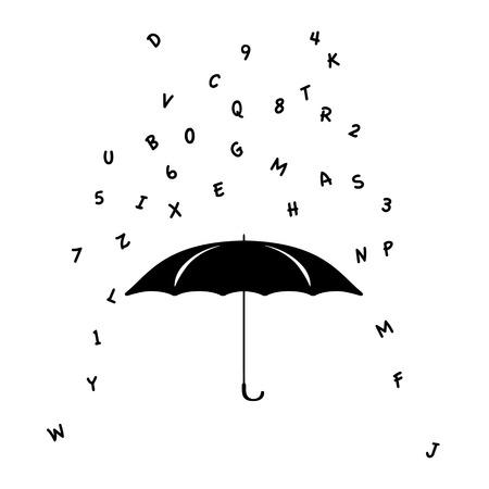 Letter rain, umbrella