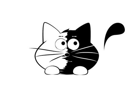 skeptic: Vector illustration, funny cat, skeptic