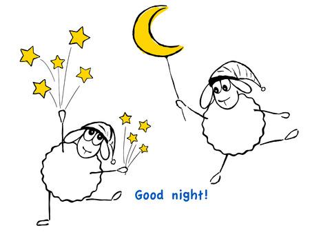 luna caricatura: Ilustraci�n del vector, ovejas divertidas, estrellas y la luna, �Buenas noches!