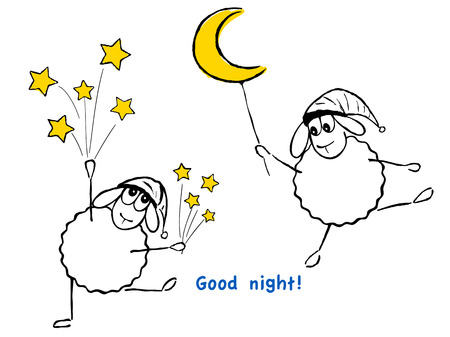 Vector illustration, funny sheep, stars and moon, Good night! Vector