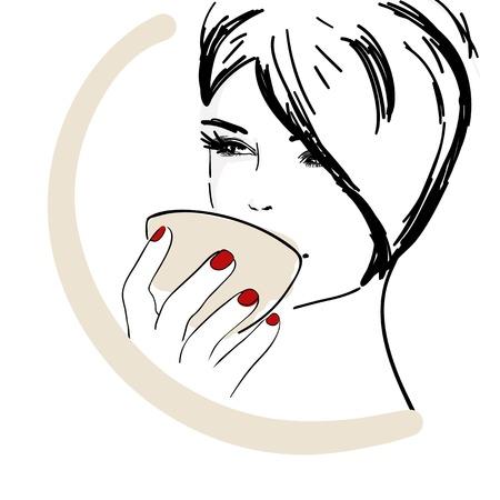 벡터 일러스트 레이 션, 아름다운 젊은 여자가 커피를 마시는