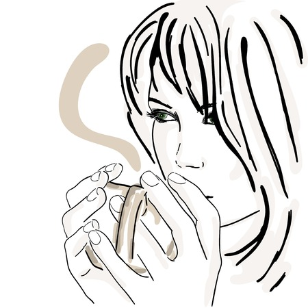 Vector illustration, sad girl with cup of hot coffee Vector
