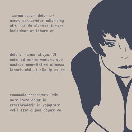 sad teenage girl: Vector illustration, pretty girl, beige background, text Illustration