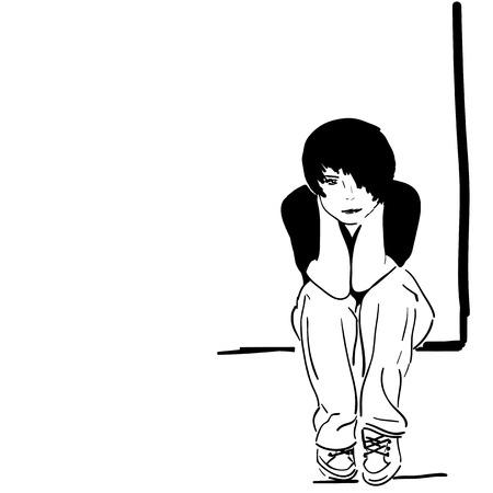 sad teenage girl: Vector illustration, pretty sad girl, black&white Illustration