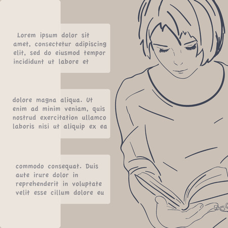 Vector illustration, pretty girl reading book, beige background, text