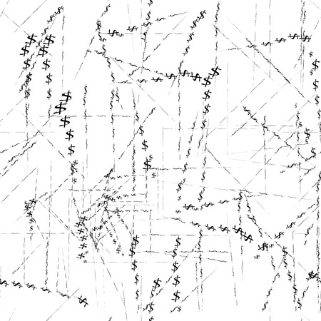 Vector seamless pattern, money, dollar