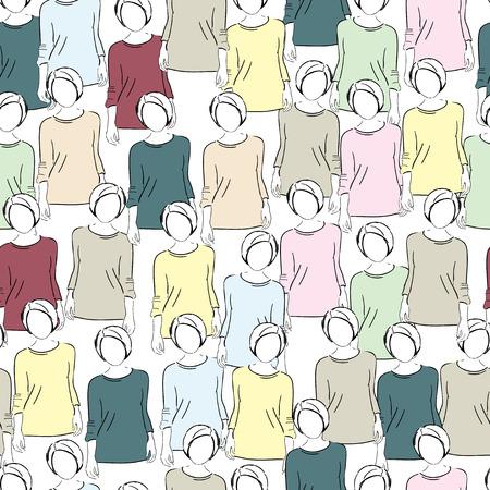 unrecognizable: Seamless pattern, women