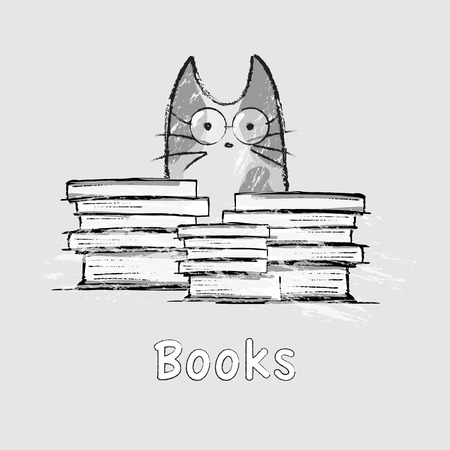 Vector illustration, hand drawn cat, glasses, books Illustration