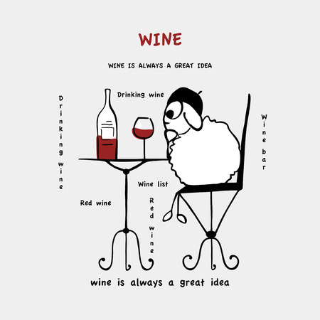 Funny sheep, drinking wine, vector