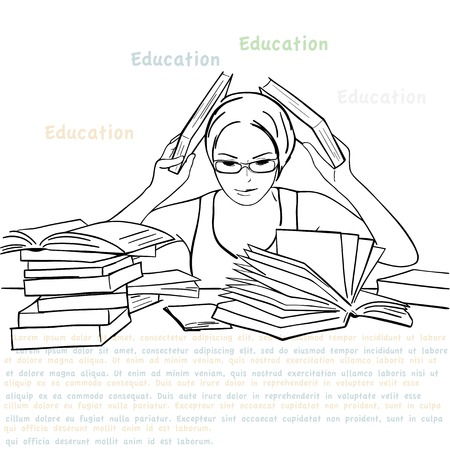 illustration of girl with the books