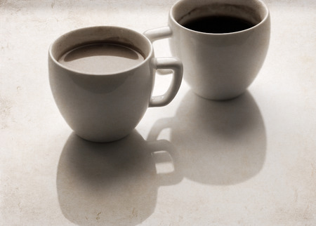 Artwork in retro style, two cups of coffee