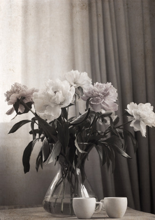 Artwork in painting vintage style, peonies in the vase, two cups of coffee